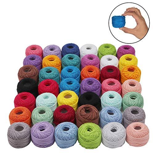 Kurtzy Cotone Uncinetto (42 Pz) - 5 Grammi, 74 Metri Filati Cotone con Uncinetti- Cotone per Uncinetto, Filo per Cotone - Filo Cotone per Applique Progetti - Cotone Filato (Colori Assortiti)