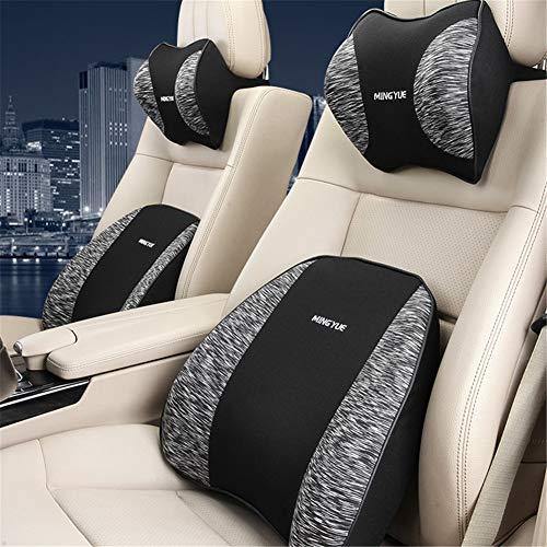 ZYJFP neksteunkussen voor de lumbale wervelkolom, ergonomisch, geheugenkatoen, met neksteun, verlicht pijn, voor autostoel, bureaustoel, grijs