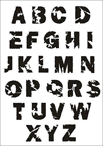 UMR-Design W-637 Font Destroyed Wand/Textilschablone Grösse A4