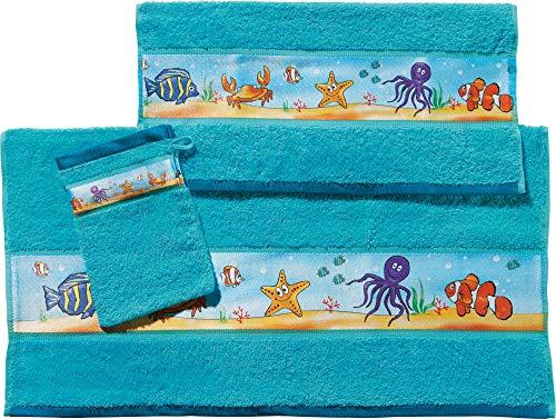 Erwin Müller Kinder-Handtuchset, Frottier-Set 3-tlg Unterwasser Fische blau Größe 70x110 cm + 50x70 cm + 15x21 cm - weich und saugstark, 1 Handtuch, 1 Badetuch, 1 Waschhandschuh, 100{4b3813cc7f82018fad45c76a89200bb1ded334931ca8a1feb20f736144ce0a4a} Baumwolle
