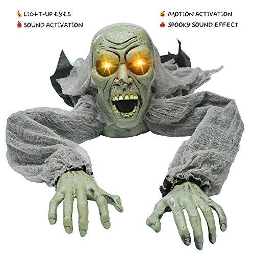JOYIN Halloween Deko Kriechender Zombie mit Sound und Leuchten Augen für Garten Dekoration