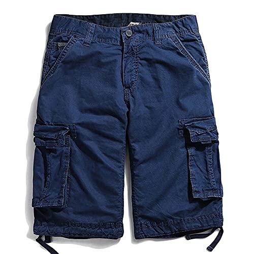 Naxxramas Pantalones Cortos de Carga al Aire Libre Pantalones Cortos de Trabajo algodón Hombres Viaje Clásico (Azul,36,36)