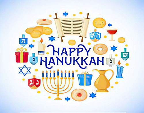Ghjxda 5D DIY Happy Hanukkah Diamond Painting Kits in Style Traditional Symbols Painting Arts Craft Canvas for Home Wall Decor Full Drill Cross Stitch 12x16 Inch