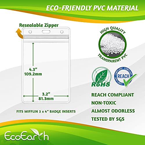 EcoEarth Vertical ID Badge Holder (Premium Tier Sealable, 3x4 Inch (L), 50 Pack), ID Holder, ID Card Holder Bulk, Name Badge Holder, Name Tag Holder, Plastic Badge Holder, Clear Card Badge Protector Photo #7