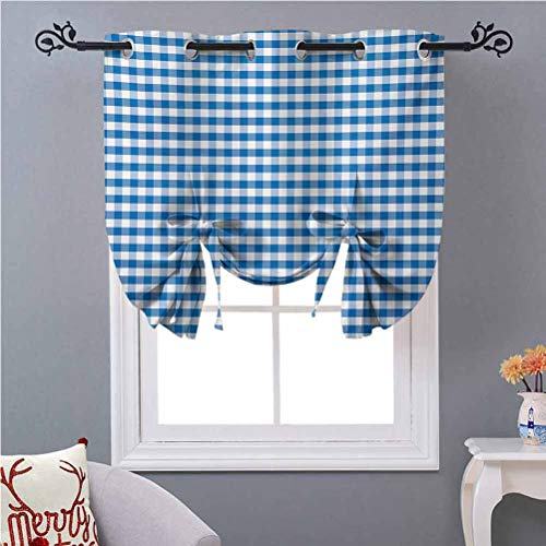 Aishare Store Tie-Up Valance Curtain Monochrome Gingham Checks Classical Country Culture Old Fashioned Grid Design W46 x L63 Window Treatment Window Valance for Kitchen Blue White
