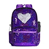 DIY Sequin Backpack for Girls Teenagers Glitter Purple Backpack Lightweight Travel Backpack Daypack Cute Sequence Bookbag for Kids