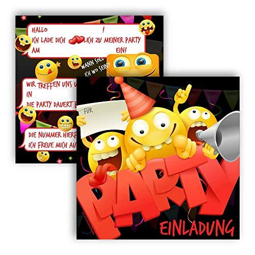 12 Einladungskarten Kindergeburtstag Smiley, Die Kinder Geburtstagseinladung für Jungen und Mädchen, Geburtstags Karte Emoji (12 Einladungskarten ohne Kuvert)