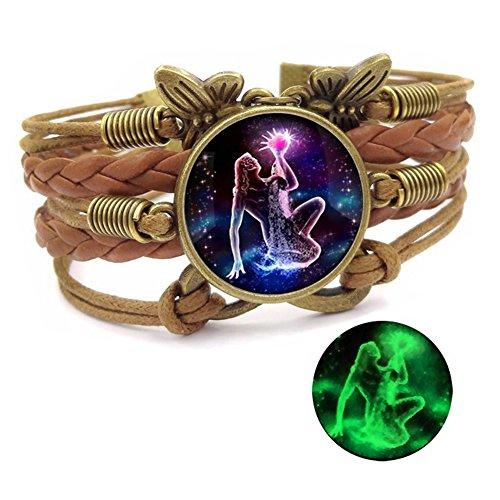 Dunbasi 12 Sternzeichen Armband Infinity Lederarmband Frauen Mädchen,Vintage Schmetterling Unendlichkeit Armbänder,Nachtleuchtender Armreif Damen Geschenke (Wassermann)