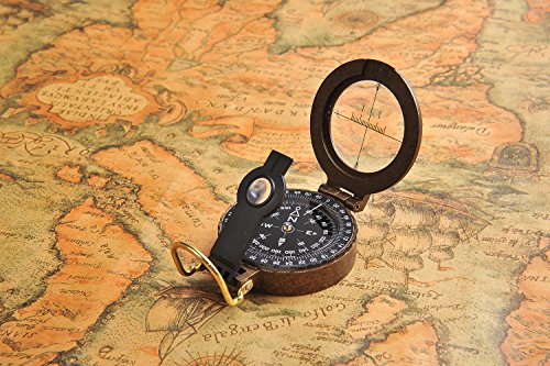 Huntington Compass, brújula sólida Hecha de Bronce, líquido amortiguado profesionalmente, con Rosa de los Vientos Transparente, T5618
