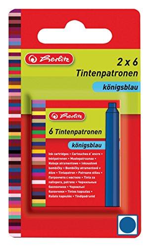 Herlitz Tintenpatrone Standard, passend für viele Marken, 2 x 6 Stück auf Blisterkarte, blau