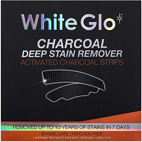 White Glo Charcoal Teeth Whitening Strips, 100 g