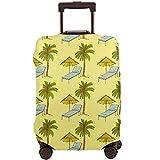 Funda de Equipaje de Viaje Hawaii Silla de Palma y Tumbona Hawaiana Protector de Cubierta de Maleta Vintage Cubierta de Equipaje de Equipaje Se Adapta a 22-24 Pulgadas