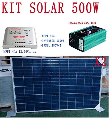 Kit Solar 500w Completo (Panel,Mppt y Inversor) 12v y 24v Fotovoltaica