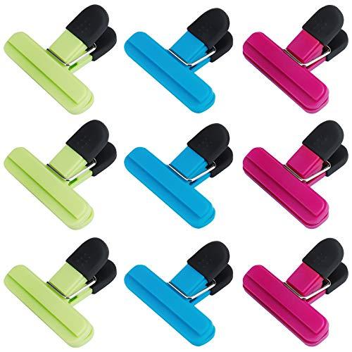 QH-Shop Verschlussclips für Beutel, 9 Stück Kunststoff Clips Tüten Verschlussclips Brief Klammern Verschlussklammern für Snacks, Brot Chips, Kaffee Lagerung (3 Farben, 77mm)