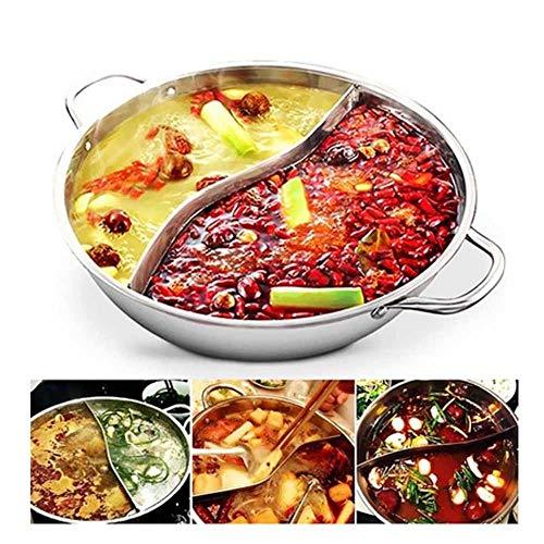 JPZCDK Casserole Kochen Tool 2 Grid 2 Geschmack Edelstahl Hot PotEnte PotInduktionsherd spezielle Suppentopf