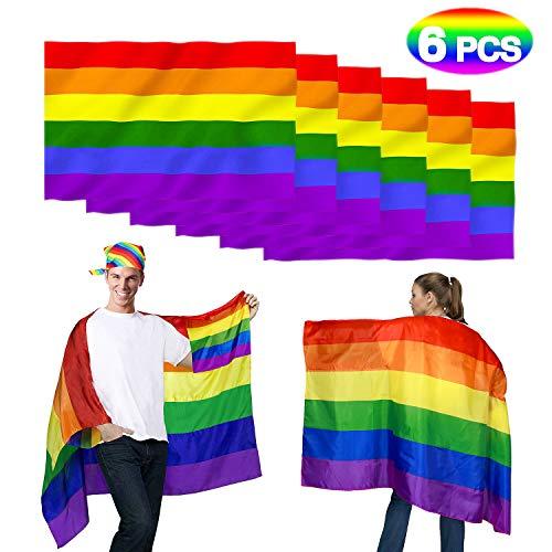 vamei 2 stuks Gay vlag regenboog vlag Gay Pride Vaandel LGBT Vlag Banner sjaal CSD Lesbian Homosexuel trots Rainbow vlag drempeltrots Bisexuell 6 stuks.