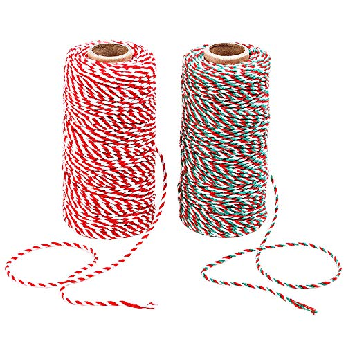 Benvo Christmas Twine 2-Pack Red White Green Cotton Twine and Red White Cotton String Rope Ribbon Cord for Holiday Gift Wrapping, Baking, Butchers, DIY Crafts, 656 Feet