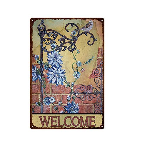 ivAZW Tin Sign Classical Birds Cats Flower Deer Fishing Metal Welcome Garden Retro Plaque Iron Painting Wall Decor Painting Home Bar 20x30cm 4