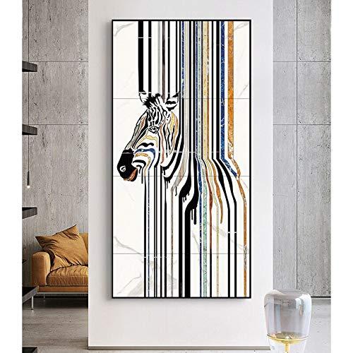 KWzEQ Pintura al óleo Abstracta del Arte Animal de la Cebra en la Lona Cartel nórdico HD Mural decoración del hogar40X80cmPintura sin Marco