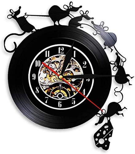 zgfeng Reloj de Pared con Registro de Vinilo Reloj de Registro Hecho a Mano Vintage Reloj de decoración de Pan con Mickey Mouse