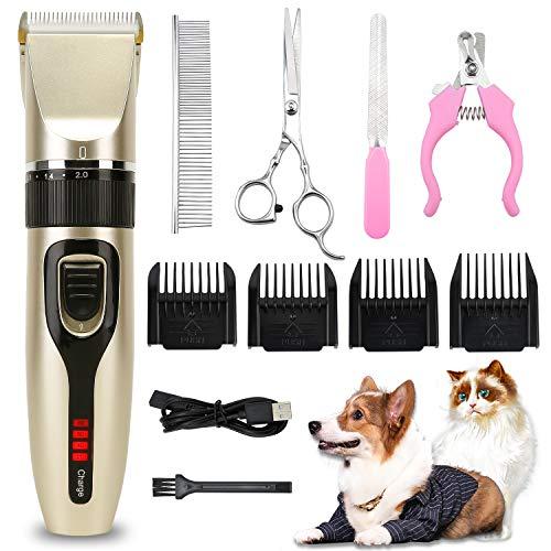 HAPPY HACHI Cortapelos para Perros Maquinillas Eléctricas Tijeras para Gatos Profesional Cortaúñas para Perros USB Recargable con 4 peines acoplables