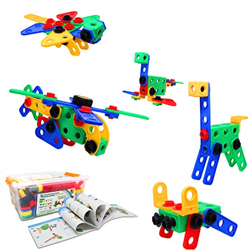 JJ PRIME STEM Toys Colourful 105 PCS Kids Educational Building Constructional Engineering Blocks with Electric Drill Learning Kit Creative Fun for Boys Girls Christmas (STEM 105 Pcs)