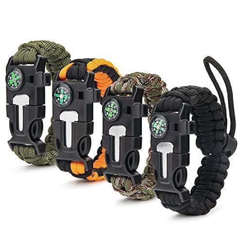ceuao Survival Armband Kit 4er-Set für Outdoor Survival, Survival Kit Outdoor Armband überlebensarmband, Paracord Armband Herren, Pfeife, Feuerstein, Messer, Kompass, zum Outdoor-Aktivitäten