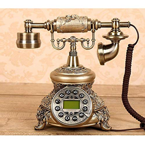 FHISD Teléfono Vintage/teléfono Retro con Carcasa de Madera y Metal, botón Giratorio Funcional y Red de teléfono Fijo clásico en Apariencia de Metal Bronce, botón inalámbrico para hogar/oficin