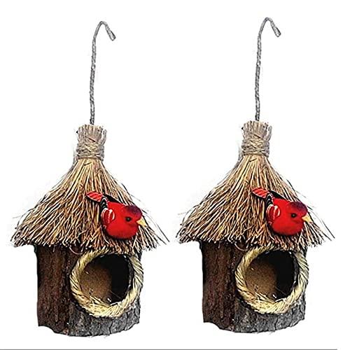 YAMMY Casa para pájaros, 2 uds, práctica Paja para Colgar, casita para pájaros de Madera, Nido de pájaro, jardín, hogar, jardín, Loro, Canario para jardín (pájaro)