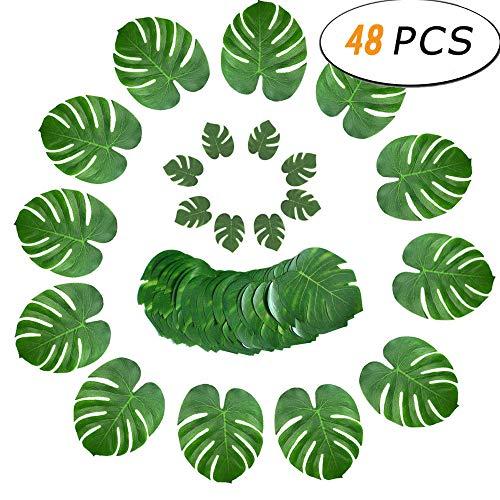 FABSELLER Kunstmatige Tropische Bladeren, 48 stks Nep Palm Bladeren Faux Monstera Plant Bladeren Wandtafel Simulatie Bladeren Decor Hawaiian Luau Party Strand Verjaardag Bruiloft Decoratie