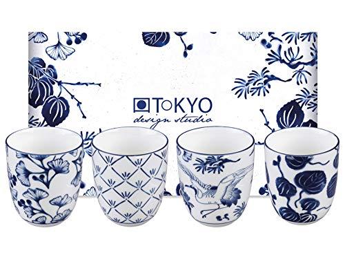 TOKYO design studio Flora Japonica 4-er Tassen-Set blau-weiß, ohne Henkel (Becher), Ø 6,7 cm, 7,7 cm hoch, 170 ml, asiatisches Porzellan, Japanisches Blumen-Design, inkl. Geschenk-Verpackung