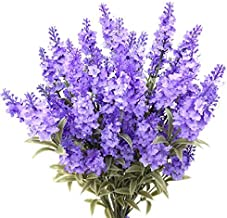 Guagb Artificial Lavender Silk Flowers Plastic Fake Plant Make a Bountiful Flower Arrangement Decor Your Outdoor Indoor Ho...
