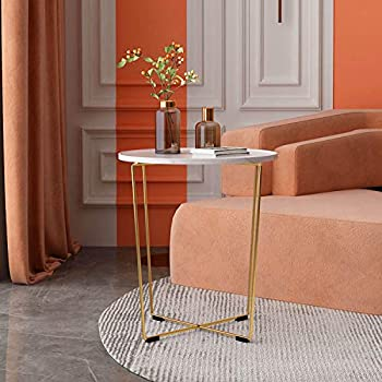 Aosan 21.65 Round Coffee Table with Gold Metal Frame
