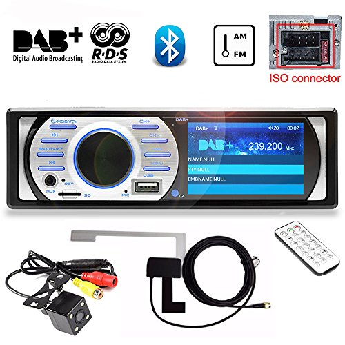 PolarLander 3 Pouces HD TFT Affichage Auto Dab + Récepteur Autoradio Radio Lecteur Support AM/FM/RDS/Bluetooth / MP3 / 4X45W avec Antenne Dab Caméra de recul