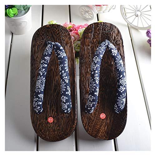 LPZW Hombre de Madera de Punta Cuadrada étnica Japonesa Oriental Oriental Geta obstruidos Kimono año Nuevo baño Desgaste Flip Chanclas Zapatos para Hombre (Color : Color3, Shoes Size : 42)