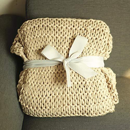 Amerikaanse ruw gebreide deken, geweven deken, acryl bankdeken, handdoek,-127cmx152cm_Rijst kameel