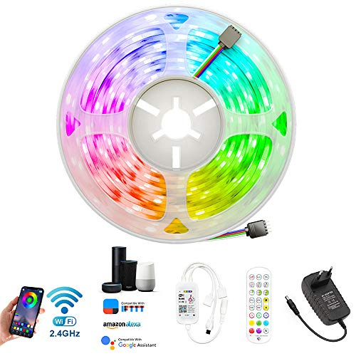 Plartree Tira Luz LED 5M Wifi, Multicolor 5050 RGB 150 LED Tira Luz con Control Remoto Strip Light Flexible Impermeable Sync con Musical Decoración para TV Coche Dormitorio-APP Control