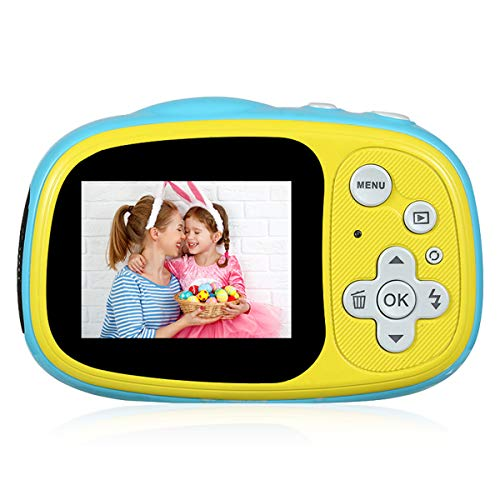 ZINSOKO Kids Waterproof Camera, Toy Camera Kids Mini Digital Camera 2-inch LCD Display MP3 MP4 Games Best Entertainment Gift for Kids Ages 3-12 Outdoor (Yellow)