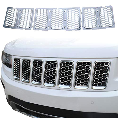 JeCar Grille Inserts ABS Mesh Honeycomb Chrome Clip-on Grill Cover Trim Kit for 2014-2016 Jeep Grand Cherokee