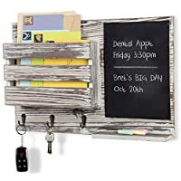 MyGift Torched Wood Wall-Mounted Mail Organizer with Chalkboard & 3 Key Hooks [並行輸入品]