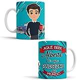 OyC Original y Creativo Taza Padrino - Taza Aquí Bebe el Mejor Padrino del Mundo/Taza aqui Bebe un Super Padrino/Taza con Frase y Dibujo Personalizada con Nombre (Padrino)
