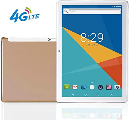 """$158 Get MoZhu 10 Tablet,10.1"""" Inch Tablets PC Android 7.0,HD,3G,4G LTE,WiFi, GPS, Octa Core, 64GB ROM,4GB RAM, Dual Sim Card, 1920×1200 IPS,New,(Gold(4G LTE))"""