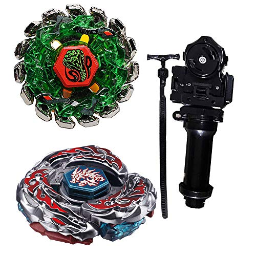 B-MOON Metal Fusion L-Drago Poison Serpent SW145SD Metal 4D High Performance BB-69 and BB-108 F:S Metal 4D High Performance Generic Battling Tops Toys with Ruler Power Launcher+Grip Set