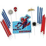 amscan 9902777 - Set di candele per compleanno, motivo: Spiderman, 17 pezzi