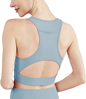Women Sports Racerback Bra with Back Pocket High Impact Support Removable Padded Running Yoga Bra