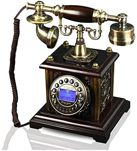 Clásico Europeo Retro Teléfono Teléfono Teléfono Hogar Retro Grabado Jinhua Botón Dial con Pantalla de Pantalla Fija (Color : B)