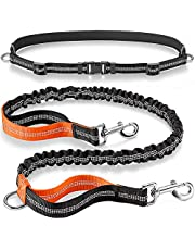 Chepl Dog Leash Retractable Bungee Dog Lead for Medium to Large Dogs Jogging Dog Adjustable Waist Belt Reflective Stitching Double Handle
