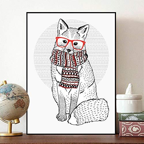 ZJMI canvasdruk, schattige fox dragen hippie bril retro sjaal dier posterprint canvas schilderij kunst wanddecoratie 21 * 30cm no frame