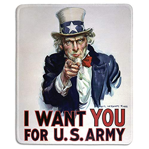 dealzEpic - Art Mousepad - Natural Rubber Mouse Pad with Classic Poster of I Want You for US Army Classic Uncle Sam Poster - Stitched Edges - 9.5x7.9 inches