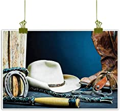 Mannwarehouse Western Modern Oil Paintings Equestrian Backdrop with Antique Horseshoe Hat Cowboy Texas Photography Canvas Wall Art 32